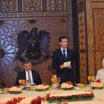 أقام الرئيس الأسد والسيدة عقيلته مأدبة عشاء على شرف الرئيس غل والسيدة عقيلته في قاعة العرش في قلعة حلب - 16.05.2009