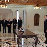 أمام السيد الرئيس بشار الأسد القاضي تيسير قلا عواد يؤدي اليمين الدستورية وزيرا للعدل - 16.04.2011