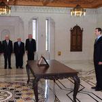 أمام السيد الرئيس بشار الأسد الدكتور عادل سفر يؤدي اليمين الدستورية رئيسا لمجلس الوزراء - 16.04.2011