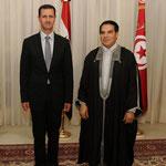 الرئيس التونسي والسيدة عقيلته يقيمان مأدبة عشاء على شرف الرئيس الأسد والسيدة عقيلته - 12.07.2010