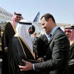الرئيس الأسد يستقبل خادم الحرمين الشريفين في مطار دمشق الدولي - 29.07.2010