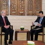 الرئيس الأسد يتسلم رسالة من ملك الأردن نقلها رئيس مجلس الأعيان الأردني - 11.04.2011