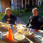 "My friend Gabi and me while enjoying coffee and cake in the morning at our little farm before ""work"""