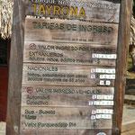 Precios del parque Tayrona