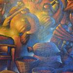 Una de las pinturas que se encuentran en el Café Me-Latte