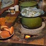 La estufa con la cena
