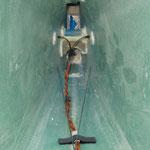 Detail Seilanlenkung-/RC-Leitungen im Rumpfheck
