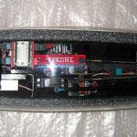 RC-Einbaubrett und Akkuhalterung bei montierter Kabinenhaube