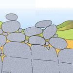 Etape 6: peu à peu, les blocs arrondis de granit s'accumulent et forment un chaos granitique.