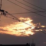 夕日が雲でピカピカ♪