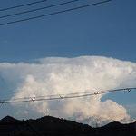 これは別日のかなとこ雲。明るく白光してて綺麗でした。
