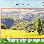 carte postale avec les monts d'Ardèche au loin , vue imprenable