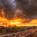 Der Himmel brennt über Helmstedt.