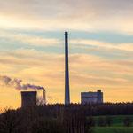 Das Kraftwerk Buschhaus im Sonnenaufgang