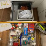 Die Schublade mit Kartoffeln haben wir umfunktioniert für Reinigungsmittel Die Kartoffeln sind höher gewandert, sodass man sich nicht mehr so bücken muss.