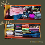 Hosen lassen sich so leicht durch dritteln oder weiteres einschlagen, passend in jede Schublade übersichtlich aufbewahren