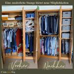 durch neue Anordnung der Regale und zusätzlicher Kleiderstange, findet sich mehr Platz und eine bessere Übersicht für Kleidung