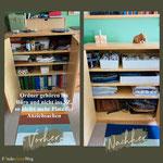 Kleidung gehört eher ins Schlafzimmer, während Ordner besser im Büro aufbewahrt werden.