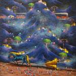 historia del caballo azul   80 x 80cm