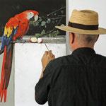 Arbeit an Papagei Ara
