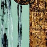 ARMONIA, 40X100CM, MATERIALE VINILICO/GOLD/ ACRYL AUF LEINWAND, VERKAUFT