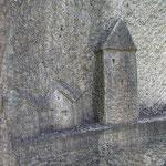 Oeuvre contemporaine le long du Chemin des Poètes (sentier de randonnée) : ici, la tour de Peyrat-le-Château est figurée - Peyrat-le-Château