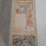 Royères - Eglise (intérieur) : fresque du XIIIe siècle découverte lors de la restauration de 2006, figurant a priori saint Martial, évêque de Limoges