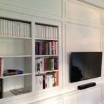 Hochwertige Schrankwand für das Wohnzimmer in weiß lackiert