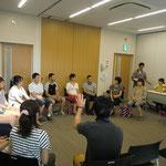 8月17日。福島から引率役で来られたお母さん2人を囲んで、福島の「今」を語っていただく、「Smilink トークカフェ」を開催しました。