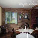 Restaurant wurde alt und aufgehübscht mit holz Optik und holz Textur