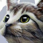 Katzen Malerei realistische Ausführung mit Fellstruktur und Pinseltechnik
