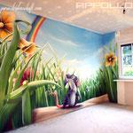 Kinderzimmer wandmalerei tinkabell kleine maus und käse