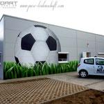 diesen fussball an der Fassade der arena Stadion