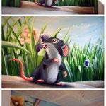 kleine graue feldmaue aus dem Kinderbuch Malerei