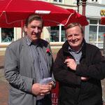 DGB-Kreisvorsitzender Werner Weiss und CDA-Landesvorsitzender Werner Kalinka, 1. Mai 2014 in Heide