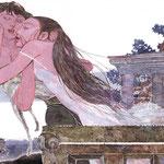 シェークスピア作 ロミオ&ジュリエットより 第三幕第五場 キャプレットのバルコニー夜明け前の別れ(部分)
