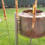 Feuerstelle Trommel mit 3 Spießen
