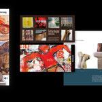 diverse Künstler: Infobroschüren, Einladungen, Plakate, Fotografie