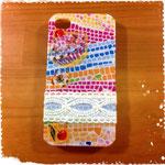 カラフルモザイク柄&レースのiPhoneケース(4/4S用)