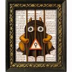 R.U. Sure? 2010 (Öl auf arabische Zeitung, 10 x 12,5 cm)