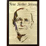 Hermann Hesse, 2015 (Öl auf historische Zeitung, 29,5 x 45 cm)