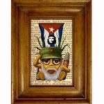 Hasta la muerte, siempre! 2010 (Öl auf kubanische Zeitung, 10 x 15 cm)