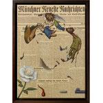 Sophie Scholl, 2013 (Öl auf historische Zeitung, 31 x 43 cm)