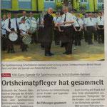 Spende des Ortsheimatpflegers (Quelle: Hadler Kurier 13.07.2011)