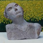 """Argile 31x29x11 (en arrière plan détail """"Océan de tulipes jaunes"""" peint par DORIÉ en 1991))"""