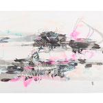 Circulation - Zirkulation I, 2018, Ink and acrylic on paper, 50 x 93 inches