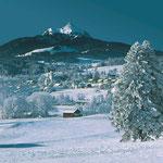 Blick auf Grünten im Winter