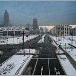 Frankfurt Gallus - Europa Allee - Blick von der Emser Brücke