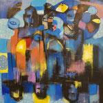 """"""" Reflets de nuit """" 152 x 141 cm - Acrylique , Mixte  - 2020"""