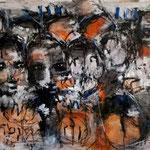 Les survivants - 150 cm x 62 cm -Acrylique , Mixte - 2019